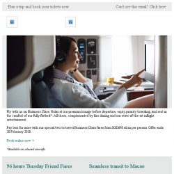 [Cathay Pacific Airways] Travel in comfort: Special Business Class fares from SGD698 all-in