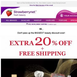 [StrawberryNet] , Extra 20% Off + Free Shipping = the BEST Beauty Deal Around!