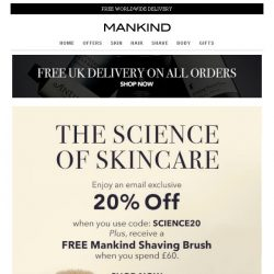 [Mankind] Exclusive 20% off + FREE Gift Inside  | The Science Of Skincare