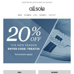 [Allsole] Step into the new season with 20% off