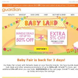 [Guardian] 🍼 Baby Land Fair is back with amazing deals of up to 50% OFF!