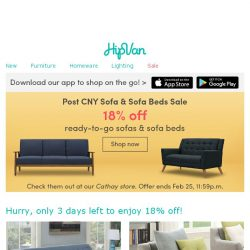 [HipVan] Your Sofa & Sofa Bed Sale is ending in 3 days!😱