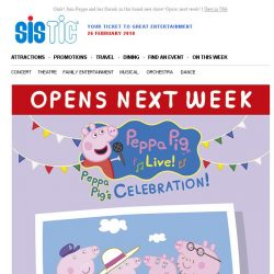 [SISTIC] Oink! Join Peppa and her friends in this brand new show! Opens next week!