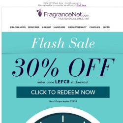 [FragranceNet] Flash Savings - Save up to 80% + EXTRA 30% off