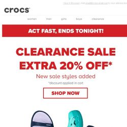 [Crocs Singapore] EXTRA 20% off clearance, ENDS TONIGHT!