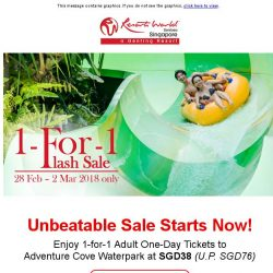 [Resorts World Sentosa] Enjoy 1-for-1 Adult One-Day Tickets to Adventure Cove Waterpark