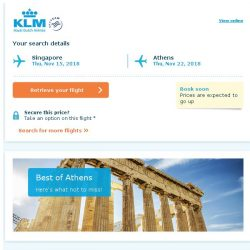 [KLM] Last seats to Athens, book soon