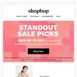 [Shopbop] Up to 25% off with code GOBIG18 + our standout sale picks