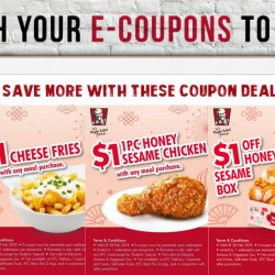 KFC: Enjoy $1 Cheese Fries, $1 Honey Sesame Chicken or $1 off Honey Sesame Box with E-Coupons!