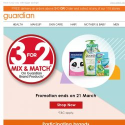 [Guardian] 💵 SAVE MORE! 3 FOR 2 MIX & MATCH on Guardian Brand Products is back!