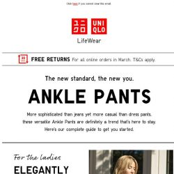 [UNIQLO Singapore] Never go wrong with Ankle Pants.