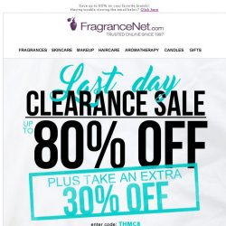 [FragranceNet] O-U-T-L-E-T savings, last day +30% off all inventory