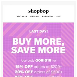 [Shopbop] LAST DAY! Get up to 25% off your entire order with code GOBIG18
