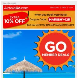 [AirAsiaGo] ❇ Congratulations! You qualify for 1/2 price hotel deals. [Coupon inside] ❇