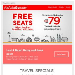 [AirAsiaGo] 🎉 Free Seats when booked with hotel | 4 Days left only! 🎉