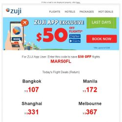 [Zuji] App Booking Special: $50 flight coupon just for you