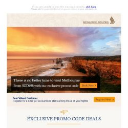 [Singapore Airlines] Promotion extended: Fly to Melbourne from SGD498