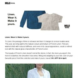 [Muji] MUJI Linen. Wear it. Make it yours.