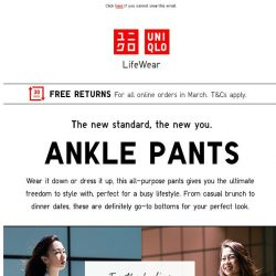 [UNIQLO Singapore] Ankle Pants. From work to play.