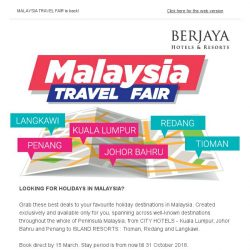 [Berjaya Hotels & Resorts EDm] LAST CALL! Grab the Best Deals - Malaysia Travel Fair