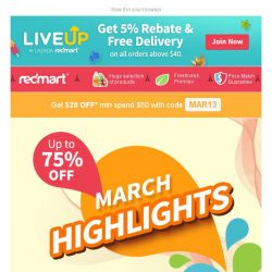 [Redmart] Up to 75% OFF in this month's highlights!