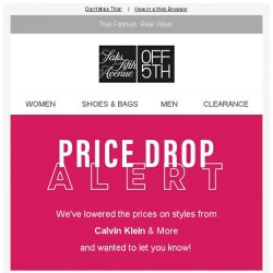 [Saks OFF 5th] PRICE DROP alert: styles from Calvin Klein & More