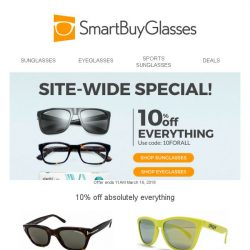 [SmartBuyGlasses] 10% off all eyewear - it's a 24 hour sitewide special!
