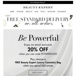 [Beauty Expert] EMAIL EXCLUSIVE: 20% Off Inside + Free Cosmetics Bag