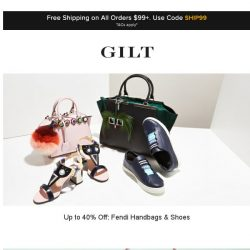 [Gilt] Up to 40% Off: Fendi Handbags & Shoes | Up to 85% Off: Shoes & Handbags and More Start Now