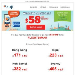 [Zuji] BQ.sg, $58 OFF flight coupon for you. App Exclusive!