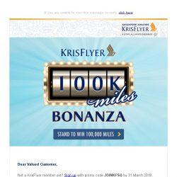 [Singapore Airlines] Last chance to win 100,000 KrisFlyer miles