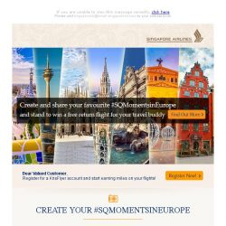 [Singapore Airlines] Stand to win a return flight to Europe for your travel buddy
