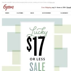 [6pm] It's your lucky day ($17 Sale Inside)