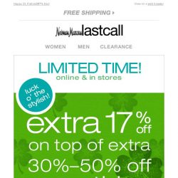 [Last Call] Luck o' the stylish >> Extra 17% off on top of sale