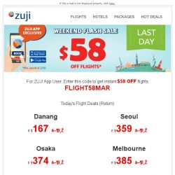 [Zuji] BQ.sg, Last 24 hours! App Exclusive Flight Deals