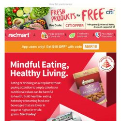 [Redmart] Healthier choices and $18 OFF! 🍎