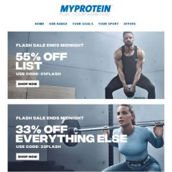 [MyProtein] [EXTENDED] 55% Off Flash Sale Ends Today!