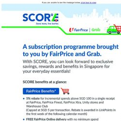 [Fairprice] SCORE free delivery for your orders