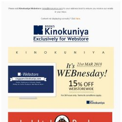 [Books Kinokuniya] It's WEBnesday! ⏰ For 24 hours only, enjoy 15% discount exclusively on Kinokuniya Webstore Singapore!