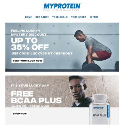 [MyProtein] Feeling lucky? Win 35% Off Your Order Today!