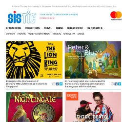 [SISTIC] THE LION KING - The world's most loved musical is coming to Singapore!