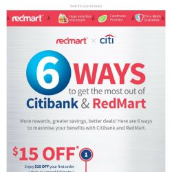 [Redmart] $15 OFF + 6 ways to save as you shop! 🎁