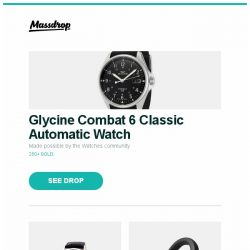 [Massdrop] Glycine Combat 6 Classic Automatic Watch, Orient Executive Sun & Moon V3 Automatic Watch, Audio-Technica MSR7NC Noise-Canceling Headphones and more...
