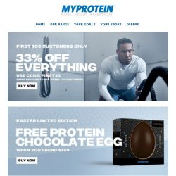 [MyProtein] First 100 Customers Today Get 33% Off 🏎️