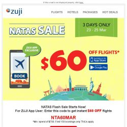 [Zuji] BQ.sg, Save $60 Flights + 20% OFF Hotels - NATAS Flash Sale