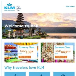 [KLM] Amazing deals to Bali from SGD 189!