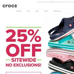 [Crocs Singapore] Best Monday Ever! Enjoy 25% OFF sitewide - NO EXCLUSIONS APPLY!