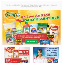 [Giant] 🙌 Too good to miss! 🎁FREEBIES from 👶Huggies and Deals as low as $3.50 for Daily Essentials!