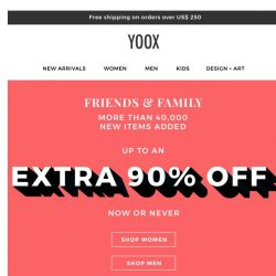 [Yoox] More than 40,000 new items with up to an EXTRA 90% OFF