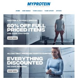 [MyProtein] [NOW LIVE] Easter Weekend Deals